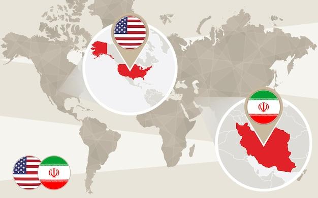 Zoom do mapa mundial nos eua, irã.