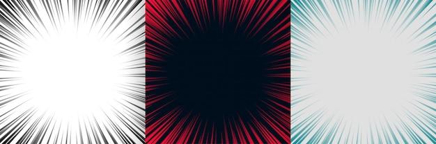 Zoom foco linhas fundo conjunto de três