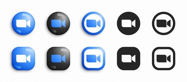 Zoom moderno 3d e conjunto de ícones plana