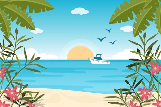 Zoom papel de parede com paisagem de verão