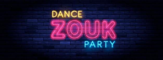 Zouk dance party com luz de néon colorida