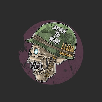 Zumbi do crânio com capacete de soldado