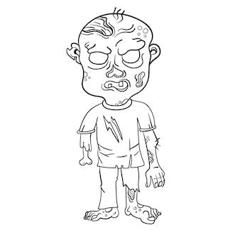 Zumbi engraçado. página para livro de colorir. ilustração vetorial isolada em um fundo branco