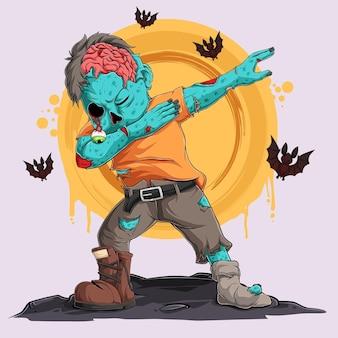 Zumbi fazendo dabbing dance com morcegos ao seu redor personagem de halloween com movimentos de toque
