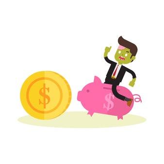 Zumbi, homem negócios, montando, piggybank, perseguindo, moeda