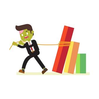Zumbi, homem negócios, puxando, queda, diagrama