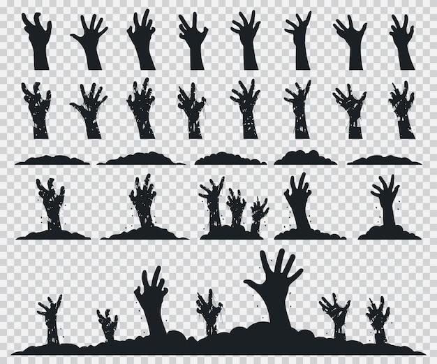 Zumbi mãos conjunto silhueta negra.