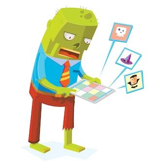 Zumbi on-line usando o computador tablet