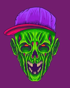 Zumbi verde assustador com chapéu urbano