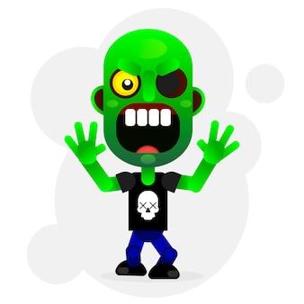 Zumbi verde engraçado de desenho de vetor