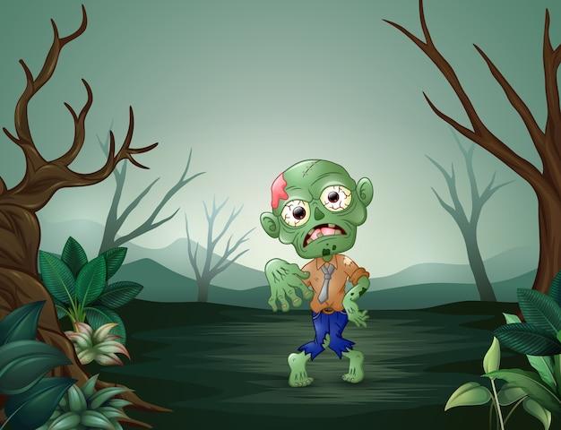 Zumbis andando aterrorizando na floresta morta