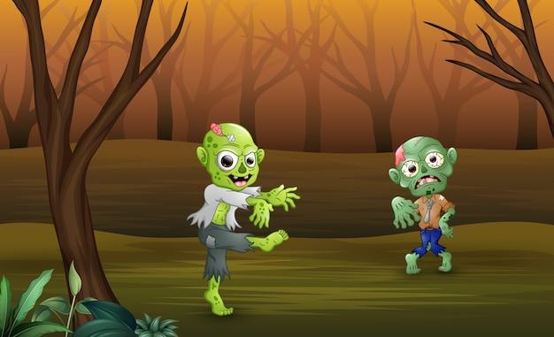 Zumbis dos desenhos animados andando na floresta