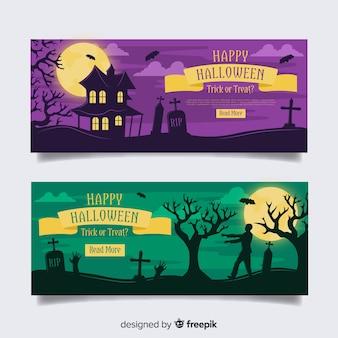 Zumbis e cemitérios banners de halloween plana