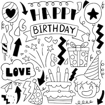 02-09-020 illustrazione disegnata a mano di vettore del modello del fondo degli ornamenti di buon compleanno di scarabocchio del partito