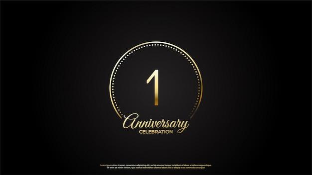1 ° anniversario con illustrazioni di numeri d'oro e lettere d'oro in un cerchio d'oro.