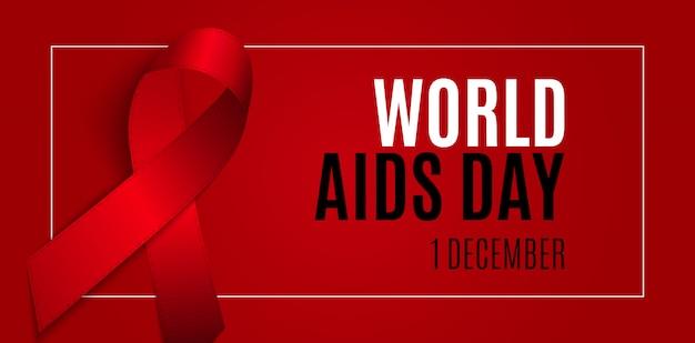 1 dicembre giornata mondiale dell'aids. segno del nastro rosso. illustrazione