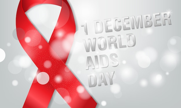 1 ° dicembre, il concetto del giorno dell'aids mondiale. nastro rosso o nastro hiv. aiuta la consapevolezza.