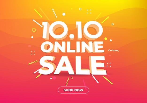 10.10 banner di vendita del giorno dello shopping online