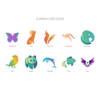 10 animali logo con tecnica a sezione aurea e gradiente