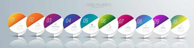 10 colori di carta origami grafico passo nel modello info-grafico vettoriale per diagramma di presentazione diagramma e concetto di business con 5 o 6 opzioni di elementi