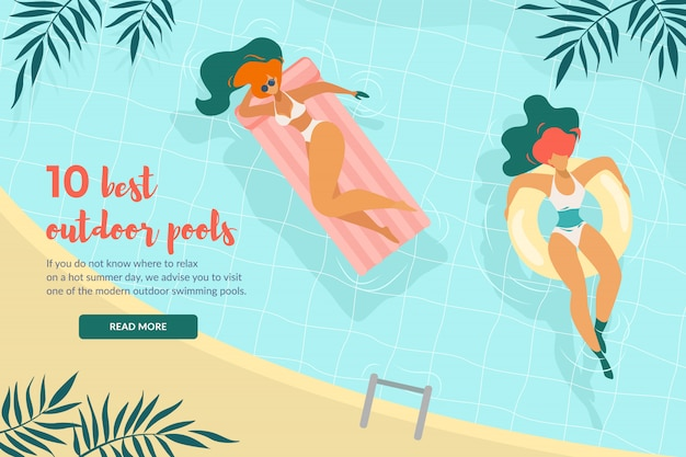 10 migliori piscine all'aperto banner orizzontale vista dall'alto giovani donne rilassate