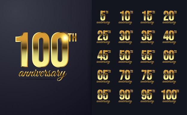 100 ° anniversario di lusso con colore dorato
