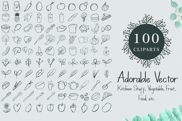 100 clipart dell'acquerello