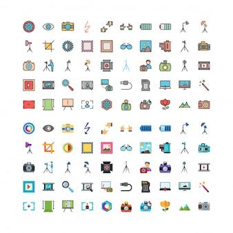 100 fotografia di icone linefilled e piatte