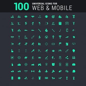100 icone universali fissati per il sito web e mobile