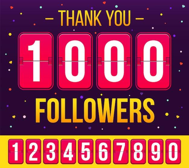 1000 abbonati di follower, grazie banner.