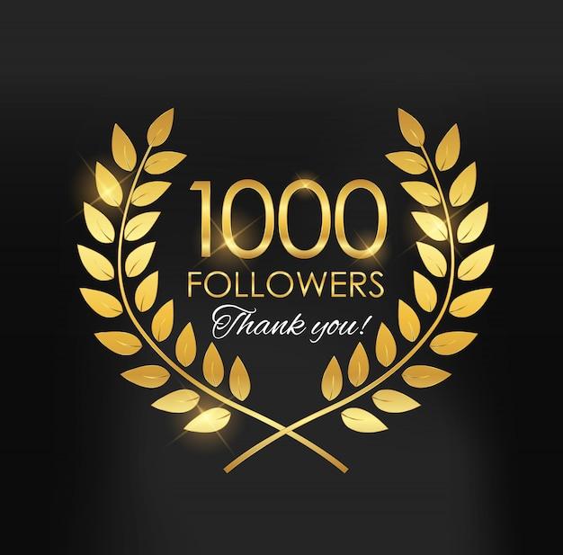 1000 follower, grazie sfondo per gli amici dei social network