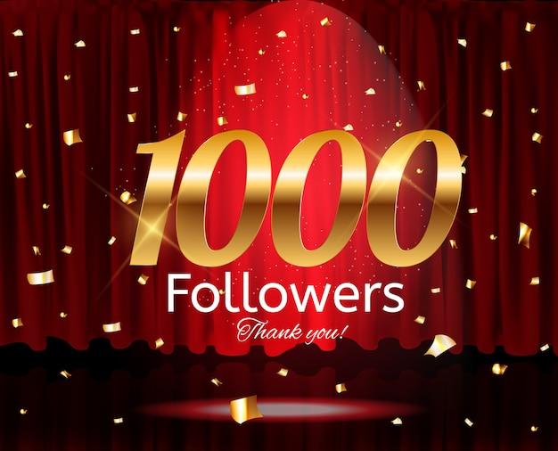 1000 seguaci. grazie. sfondo