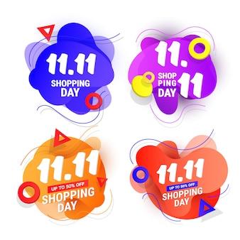 11.11 banner di design per la vendita del giorno dello shopping impostato con onda in plastica liquida sfumata e forme sfumate