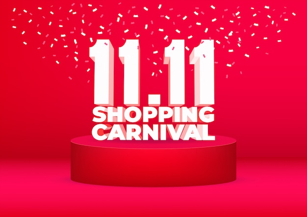 11.11 shopping poster di vendita di carnevale o design volantino.