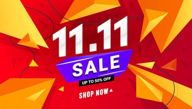11.11 vendita modello di banner design con forme poligonali su uno sfondo rosso per offerte speciali e sconti