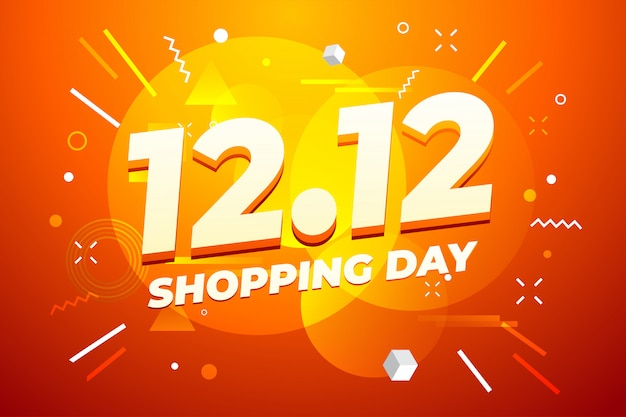12.12 design di poster o flyer di vendita per lo shopping day.