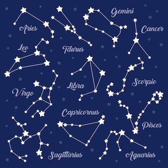 12 costellazioni di segni zodiacali impostate sul buio