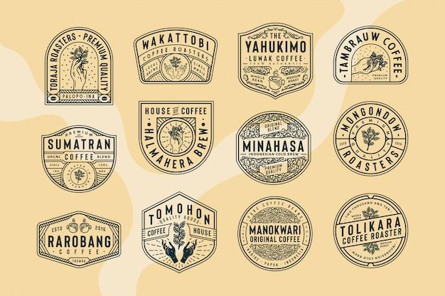 12 logo caffè e modelli di badge logo in bianco e nero testo, colore e struttura completamente modificabili