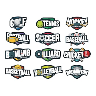 12 sport logo vettoriale illustrazione