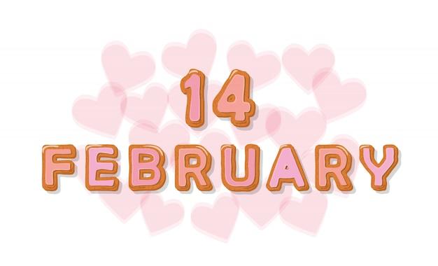 14 febbraio lettere di dolci cartoon