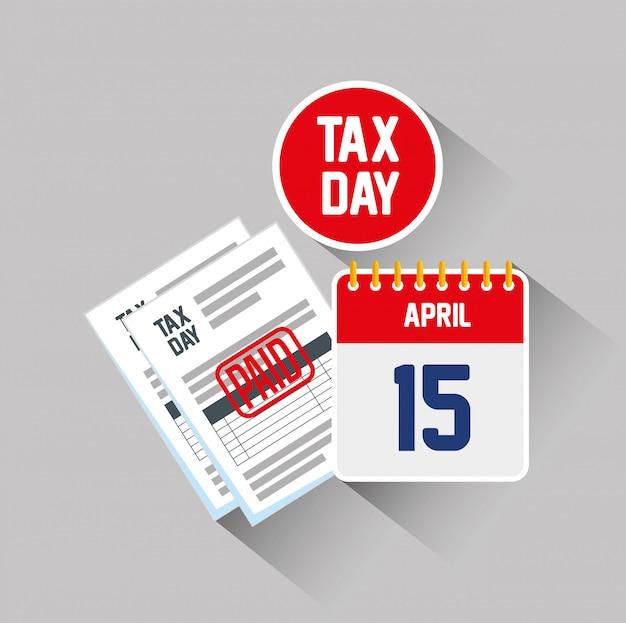 15 aprile. documento di rendiconto fiscale di servizio con calendario