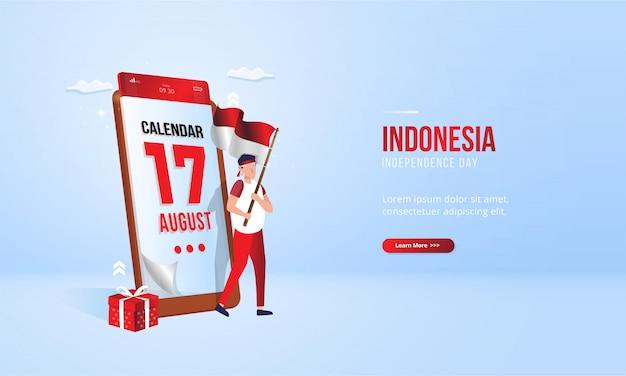 17 agosto, concetto mobile del calendario dell'illustrazione di festa dell'indipendenza dell'indonesia