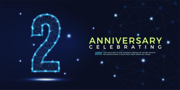 2 anni anniversario celebrando numeri astratti poligonali