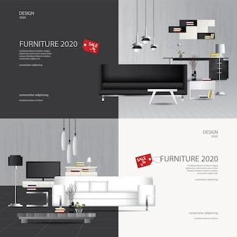 2 illustrazione di flayers della pubblicità di vendita della mobilia dell'insegna