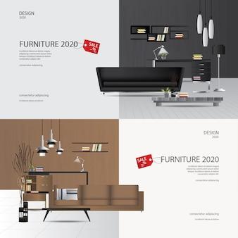 2 illustrazione di vettore di flayers della pubblicità di vendita della mobilia dell'insegna