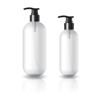 2 misure di flacone cosmetico tondo ovale trasparente con testa pompa nera.
