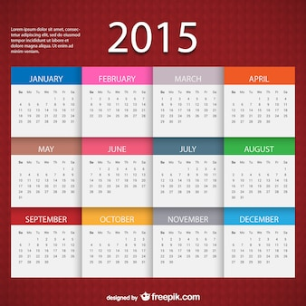 2015 modello di calendario