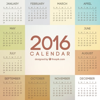 2016 anno calendario