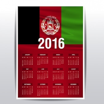 2016 calendario dell'afghanistan