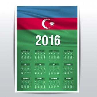 2016 calendario di azerbaigian bandiera